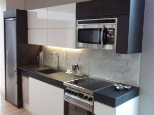 kitchen with marble backslash