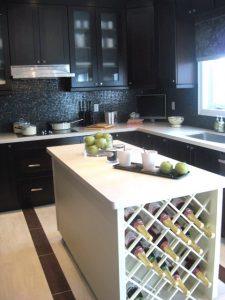 modern kitchen with wine rack counter