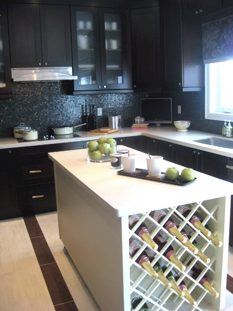 modern kitchen with wine rack counter