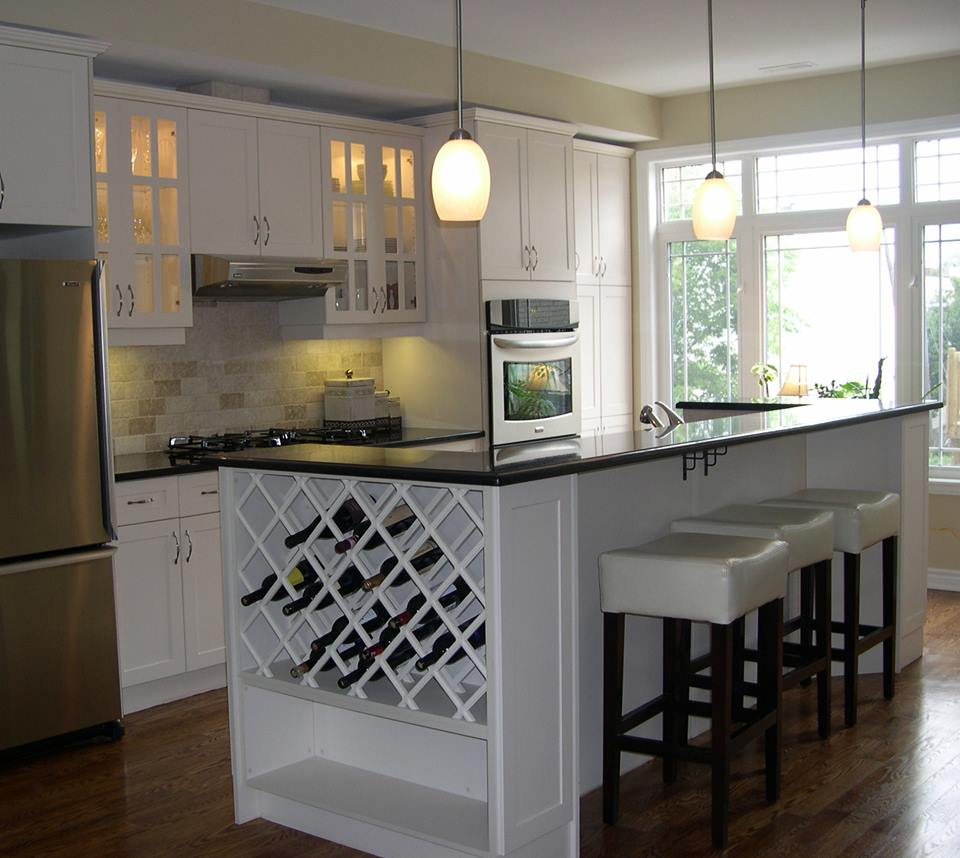 upgraded kitchen with wine rack