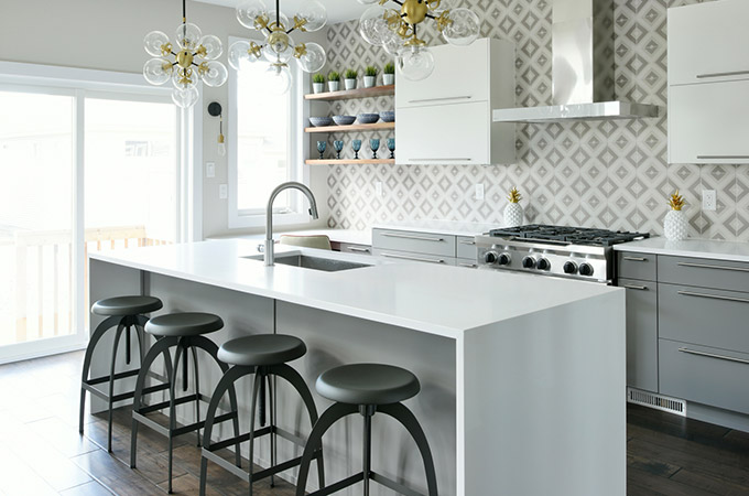 open concept shelving in kitchen