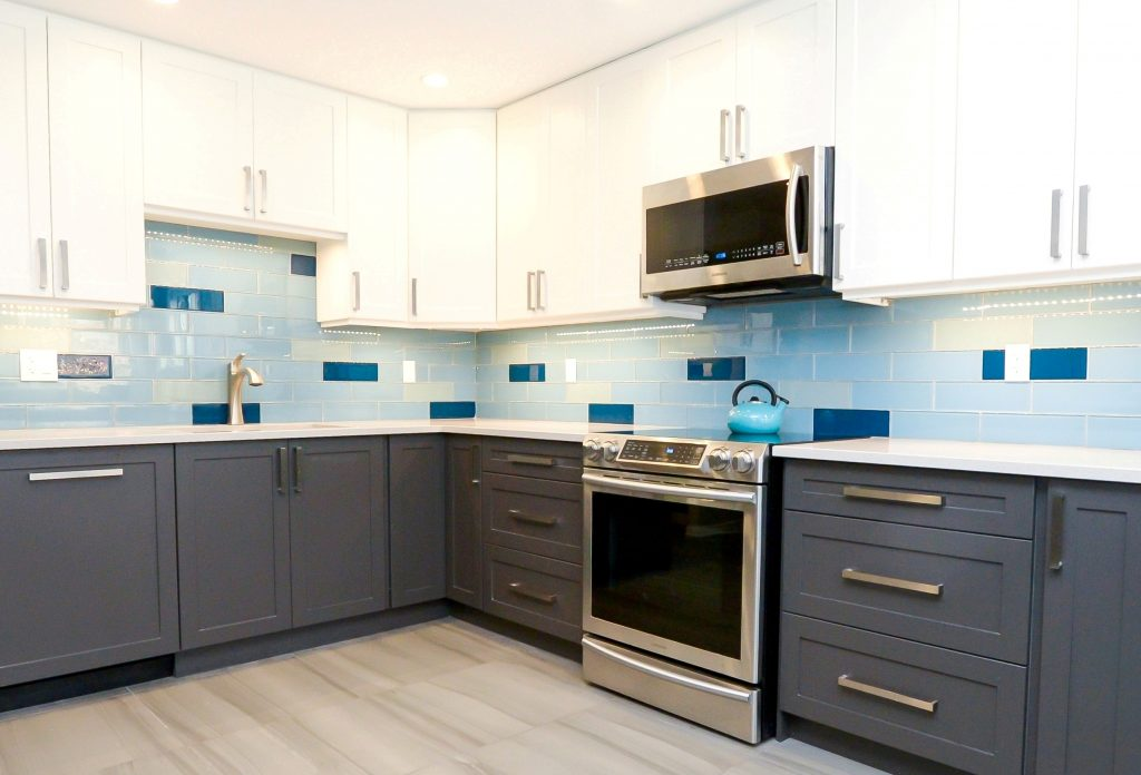 blue kitchen renovation